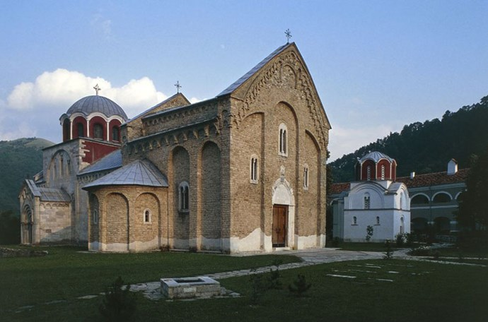 """<strong>5. Studenica Monastery: Kraljevo, Serbia</strong> <br><br> This 12th-century <a href=""""http://whc.unesco.org/en/list/389"""">monastery </a>features two white marble monuments called the """"Church of the Virgin"""" and the """"Church of the King,"""" and holds 13th- and 14th-century Byzantine-style fresco paintings."""