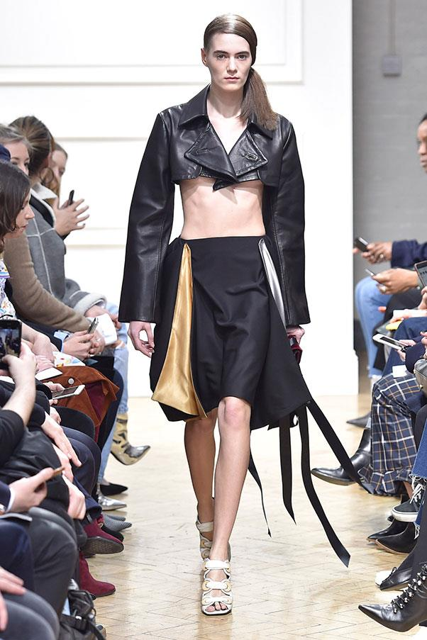 A super-cropped leather jacket.