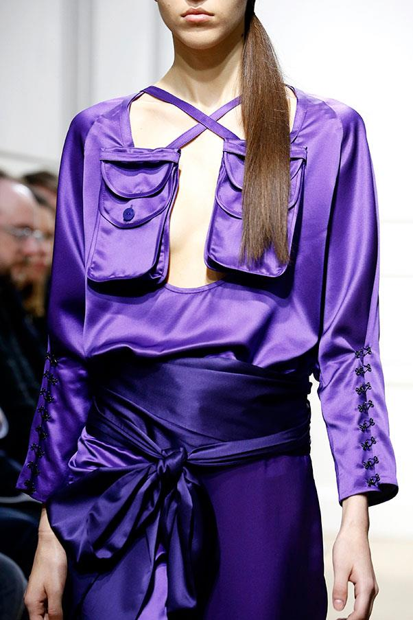 Silk two-pieces in vibrant violet.
