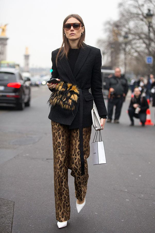 <strong>2. Leopard print is your friend</strong><br><br> Don't write-off leopard print as pure gaudiness—it can look incredibly polished if done right. Make sure the fit is loose and the rest of the outfit is tailored and classic.<br><br> Giorgia Tordini