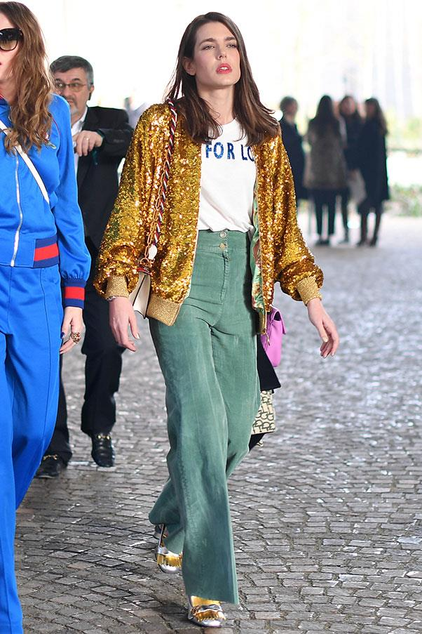 In Gucci at the brand's autumn winter '17 show in Paris, February 2017.