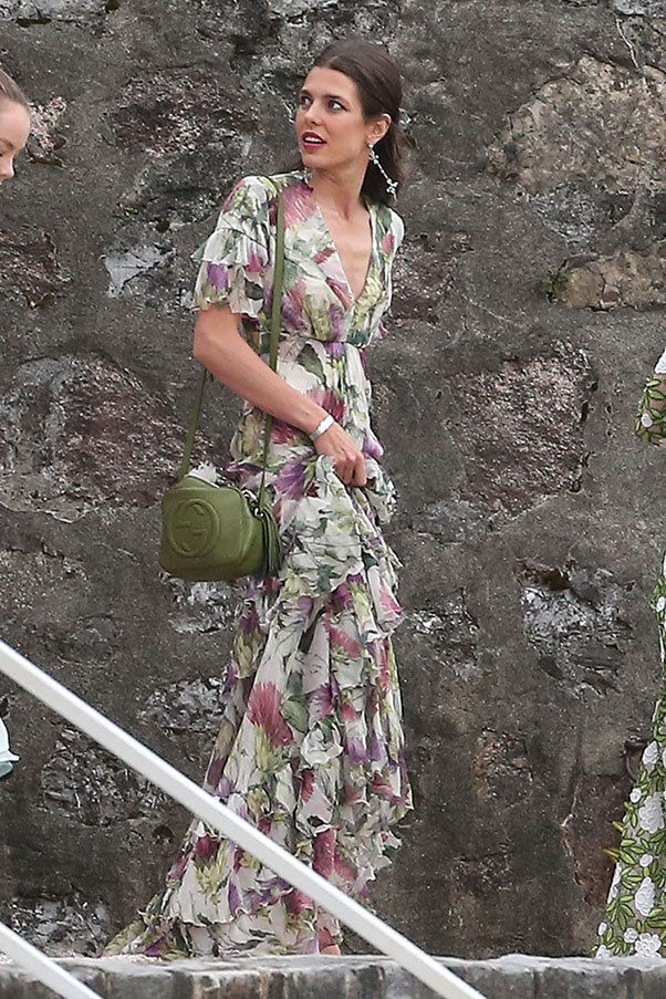 In Gucci at her brother Pierre's wedding to Beatrice Borromeo, August 2015.