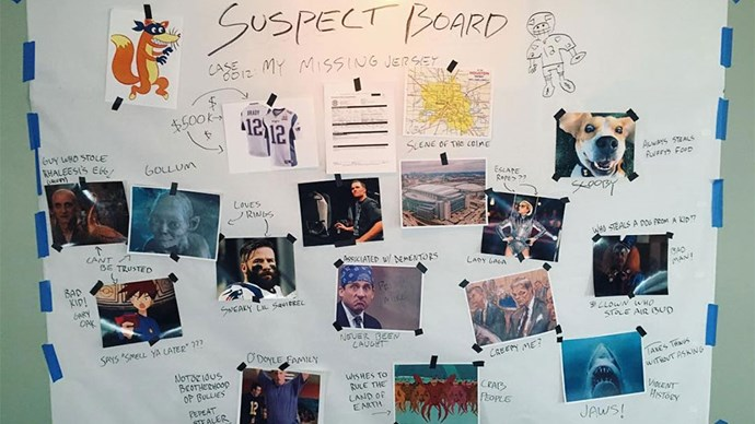 """<strong>3. Tom has a wicked sense of humour.</strong> Following the theft of his winning Super Bowl jersey, estimated at a humble $650,000, Tom has constructed a mock-up suspect board to find the thief. Amongst the accused at Lady Gaga, Gollum and Jaws (the shark). Via <a href=""""https://www.instagram.com/p/BQ0iXp3BTJe/"""">@tombrady</a>"""