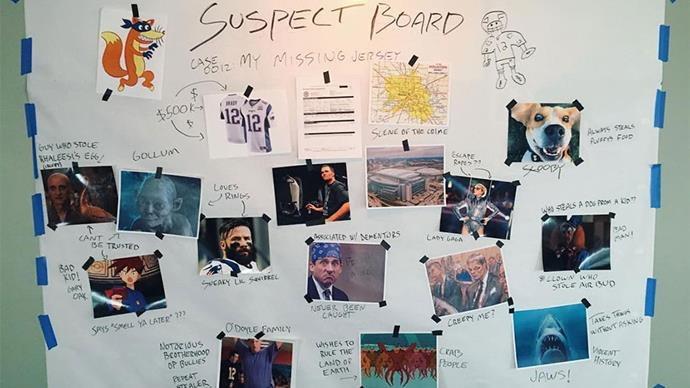 "<strong>3. Tom has a wicked sense of humour.</strong> Following the theft of his winning Super Bowl jersey, estimated at a humble $650,000, Tom has constructed a mock-up suspect board to find the thief. Amongst the accused at Lady Gaga, Gollum and Jaws (the shark). Via <a href=""https://www.instagram.com/p/BQ0iXp3BTJe/"">@tombrady</a>"