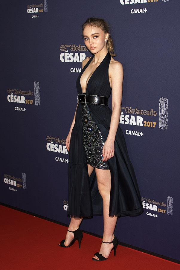 Lily-Rose wearing Chanel at the Cesar Film Awards Ceremony in Paris.