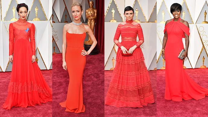 <strong>Scarlet:</strong> <br><br> From left: Ruth Negga in Valentino, Kristen Cavallari in Zachary The Label, Ginnifer Goodwin in  Zuhair Murad and Viola Davis in custom Armani Prive.