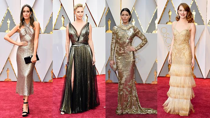 <strong>Golden Tones:</strong> <br><br> From left: Louise Roe in Pronovias, Charlize Theron in Dior, Jessica Biel in Kaufman Franco and Emma Stone in Givenchy Haute Couture.