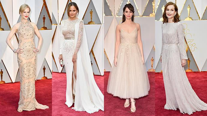 <strong>A Lighter Shade Of Pale:</strong> <br><br> From left: Nicole Kidman in Armani Prive, Chrissy Teigen in Zuhair Murad, Felicity Jones in Dior and Isabelle Huppert in custom Armani Prive.