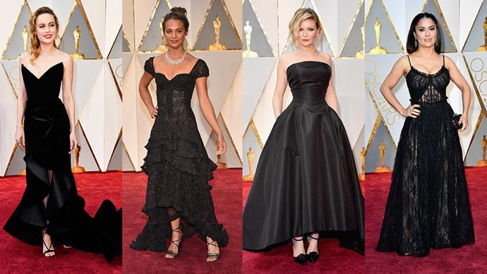 <strong>Classic Black:</strong> <br><br> From left: Brie Larson in Oscar de la Renta, Alicia Vikander in Louis Vuitton, Kristen Dunst in custom Dior and Salma Hayek in Alexander McQueen.