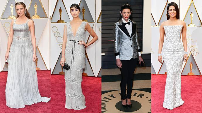 <strong>Solid Silver:</strong> <br><br> From left: Theresa Palmer in Prada, Olivia Culpo in Marchesa, Liberty Ross  and Priyanka Chopra in Ralph & Russo.