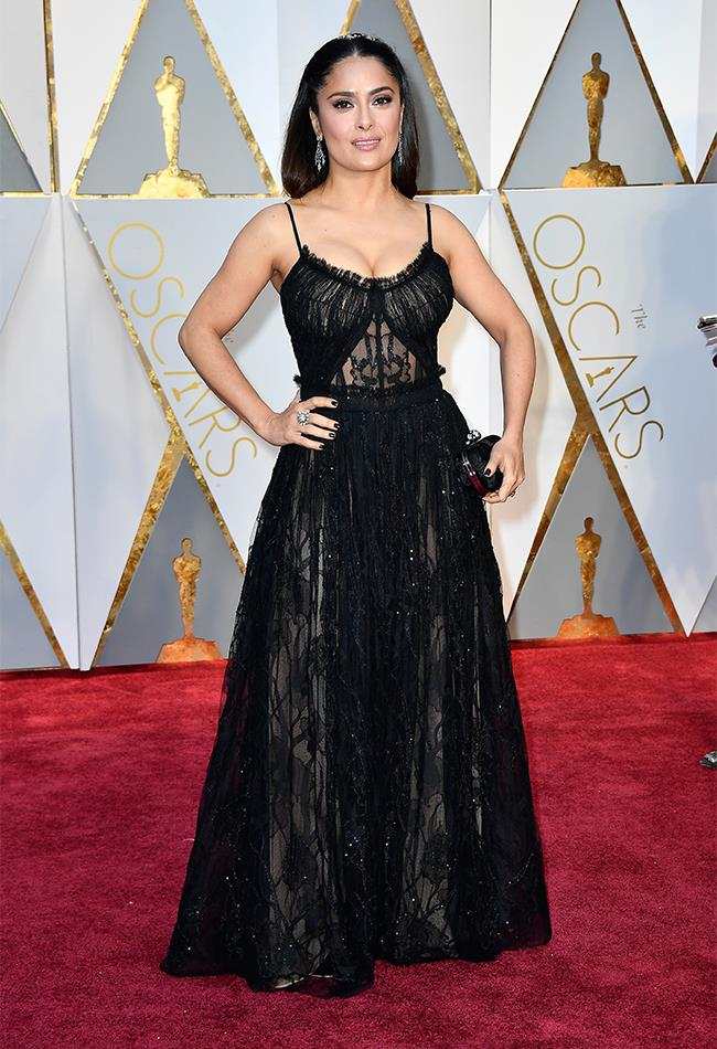 "<strong>Salma Hayek: </strong> <br><br> ""Sorry Salma, but this McQueen dress is not your best, nor most flattering, look "" — Alison Izzo, digital managing editor"