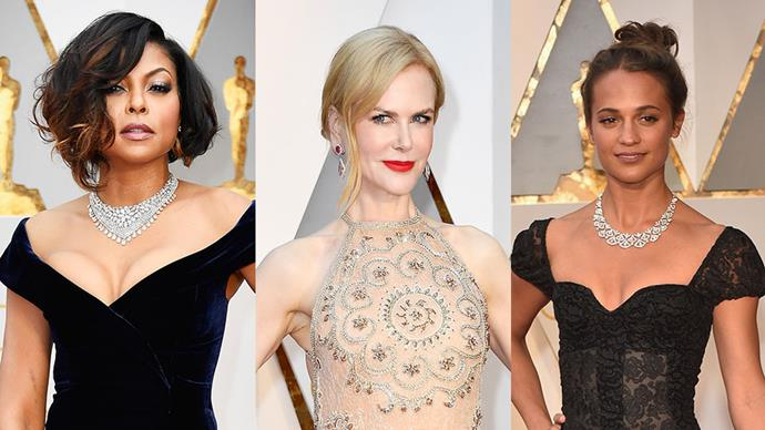 As always, the bling on the red carpet was almost blinding, with stars including Alicia Vikander, Charlize Theron and Karlie Kloss donning their best diamonds.