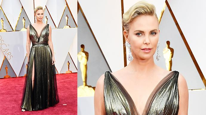 <strong>Charlize Theron</strong> <br><br> Choppard diamond chandelier earrings.