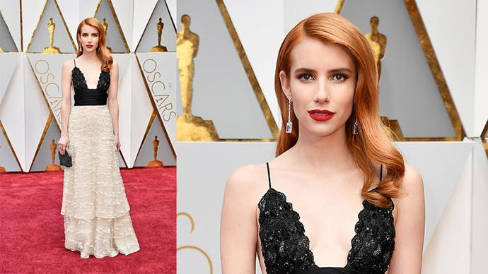 <strong>Emma Roberts</strong> <br><br> Drop earrings by Atelier Swarovski.