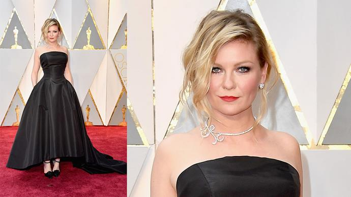 <strong>Kirsten Dunst</strong> <br><br> Diamond earrings and necklace.