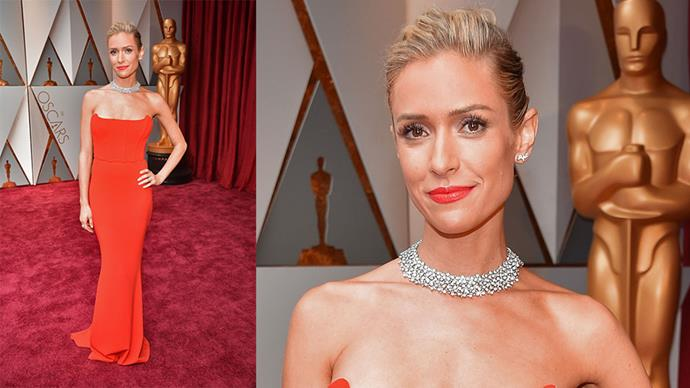 <strong>Kristin Cavallari</strong> <br><br> Diamond necklace and earrings.
