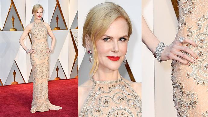 <strong>Nicole Kidman</strong> <br><br> Harry Winston diamond earrings and bracelets.