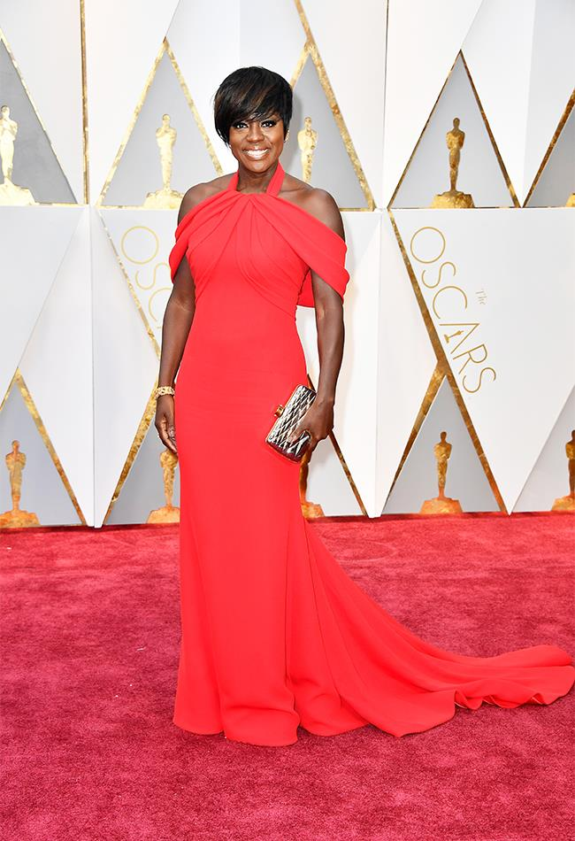 "<strong>Viola Davies: </strong> <br><br> ""A winning look, from the length to the complicated-looking halter arrangement and the mixing of metals with the accessories (gong included). Most of all, she looks comfortable."" — Tom Lazarus, chief sub editor"