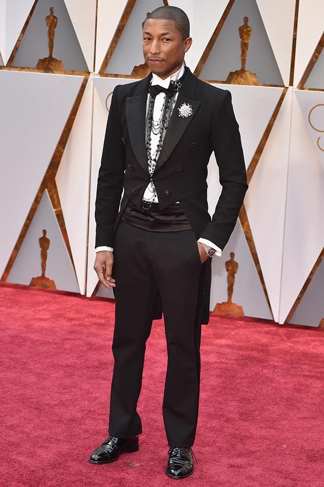 "<strong>Pharrell Williams: </strong> <br><br> ""Finding it hard to pick a dress that's a true standout winner which is why Pharrell caught my eye. Love the Chanel tails, costume jewellery and the chic brooch on the lapel."" — Kellie Hush, editor-in-chief"