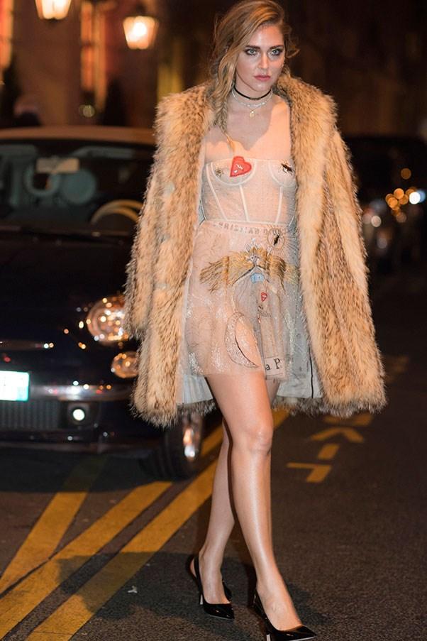 Chiara Ferragni at Paris fashion week, January 2017.