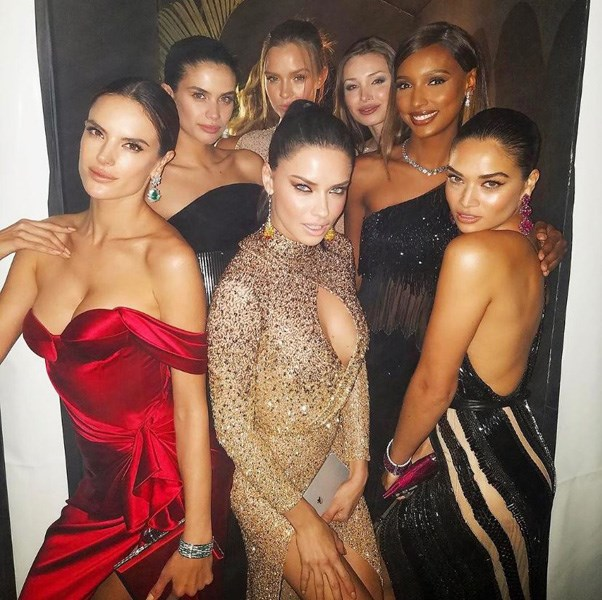 """<strong>The whole group posed together mid-party for the ultimate VS #GirlSquad photo</strong> <br><br> Instagram: <a href=""""https://www.instagram.com/alessandraambrosio/"""">@alessandraambrosio</a>"""