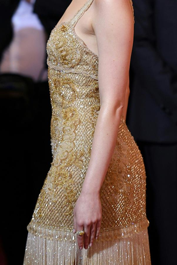 A close-up look at the hand beaded gown.