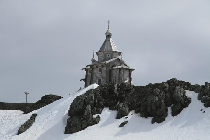 <strong>Holy Trinity Chapel, Antarctica</strong> <br><br> This Siberian Pine chapel is the perfect venue for a white wedding. Originally built in Russia in the '90s, it's manned by volunteer priests year-round.