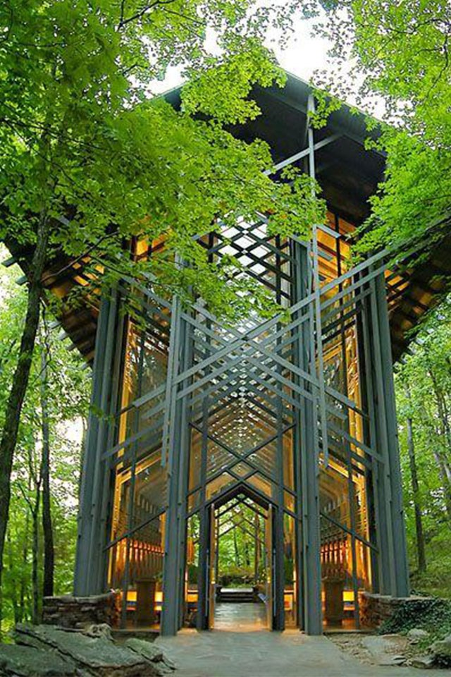 <strong>Thorncrown Chapel, Arkansas, USA</strong> <br><br> This awe-inspiring glass chapel boasts 425 windows to showcase the lush Eureka Springs forest outside.