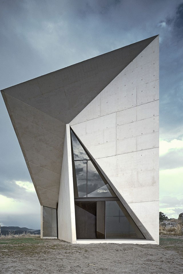 <strong>Chapel in Valleacerón, Almadén, Spain</strong> <br><br> This other-worldly structure is a sharp contrast to the baron landscapes that surround it.