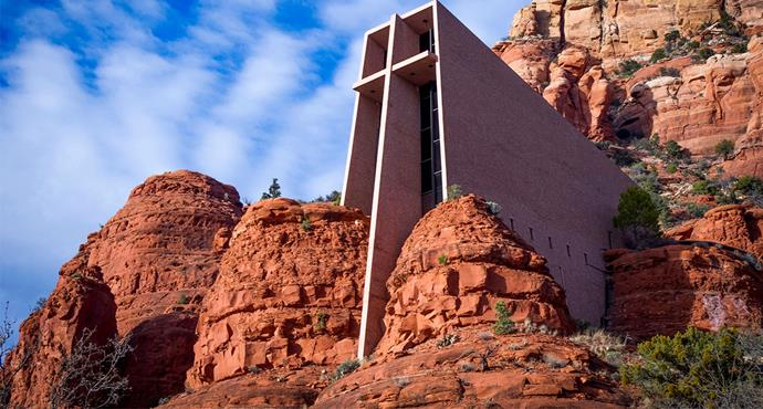 <strong>Chapel of the Holy Cross, Arizona, USA</strong> <br><br> Built into the red rock of Sedona, this Roman Catholic chapel was inspired by the Empire State Building