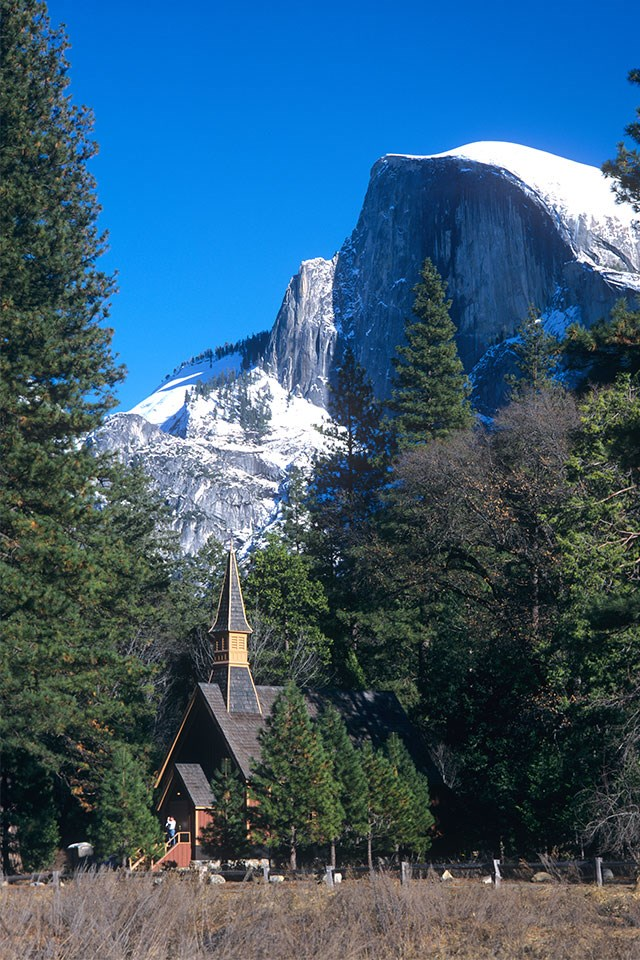 <strong>The Yosemite Valley Chapel, Yosemite Valley, USA</strong> <br><br> Surrounded by magnificent cliffs, meadows and Yosemite Falls, this building is the oldest man-made structure in the heart of Yosemite National Park.