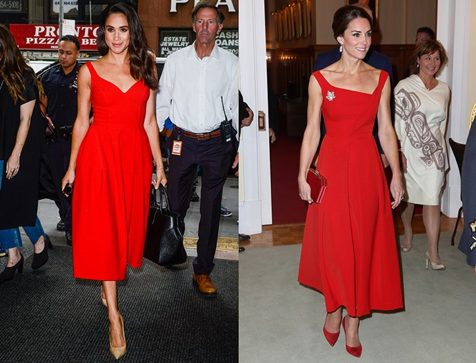 In red A-line dresses with pointed pumps.