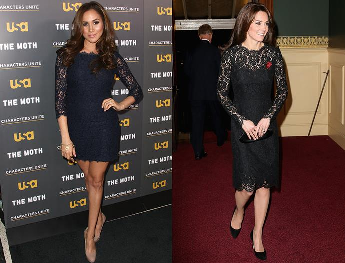 In black lace dresses with three quarter-length sleeves.