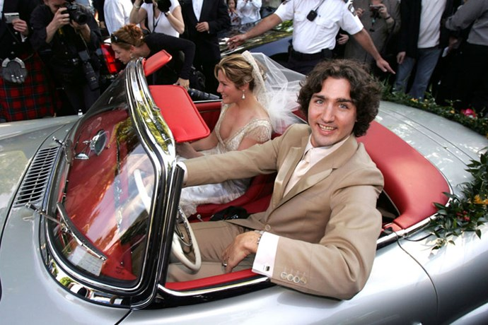 On his wedding day with Sophie Gregoire, 2005