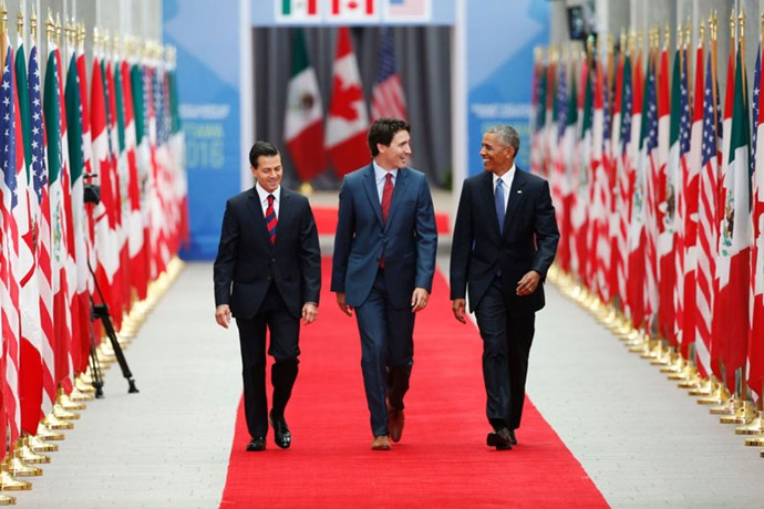 Strutting with Barack Obama and President of Mexico Enrique Pena Nieto in what could be a movie poster, 2016