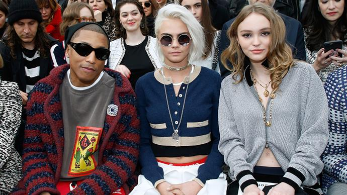 See all of the front row action from Chanel's Paris fashion week autumn/winter 2017 extravaganza. <BR><BR> Pharrell, Cara Delevingne, Lily-Rose Depp