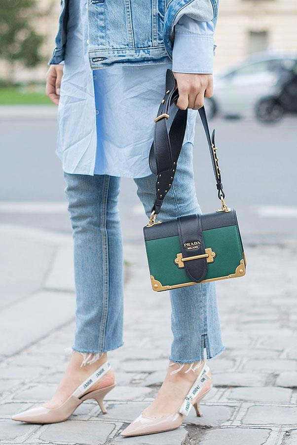 A Prada bag and Dior shoes at Paris fashion week.