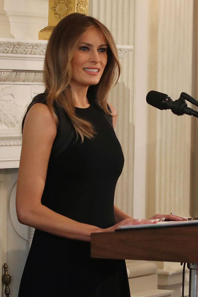 Melania wore a classic, Ralph Lauren LBD for her first speech as the First Lady of The United States.