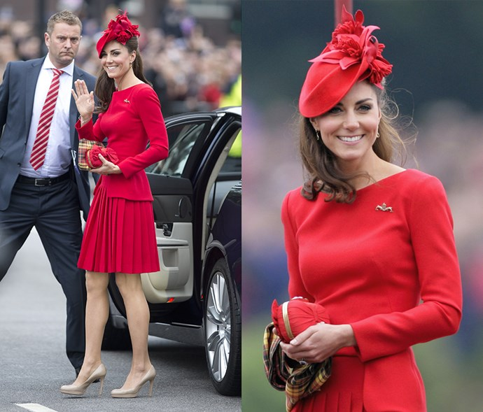 <em>Red</em> <p> In a dress with a pleated skirt and a floral hat, Kate demonstrates how to do all-red without looking like you're participating in the Santa run.