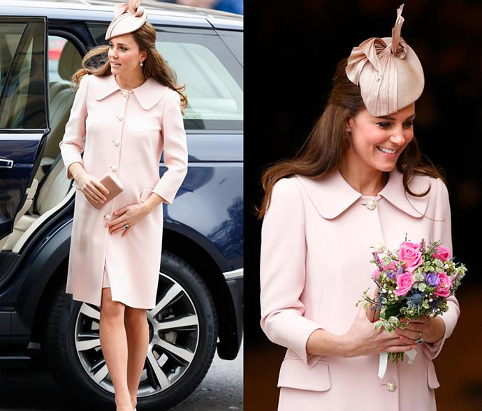 <em>Pink</em> <p> It's generally pretty hard to pull off a head-to-toe baby pink look, but Kate does it with aplomb. Pregnancy glow included.