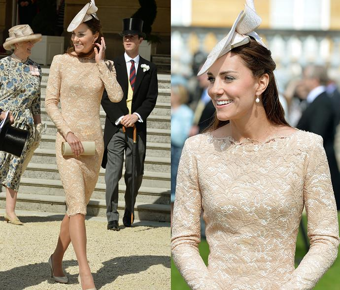 <em>Nude</em> <p> We don't know how a member of the royal family managed to look elegant and pared back in a nude bodycon dress, but, if anyone can do it, Kate can.