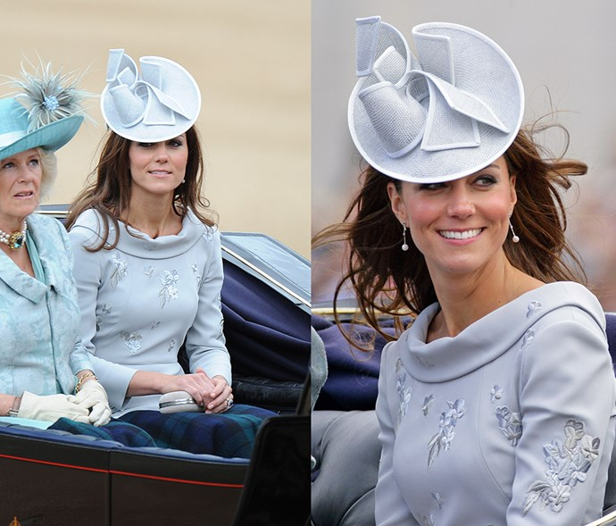 <em>Baby blue</em> <p> A custom-dyed hat is the only way we can reconcile Kate's hat and dress being in the exact same shade of periwinkle blue.