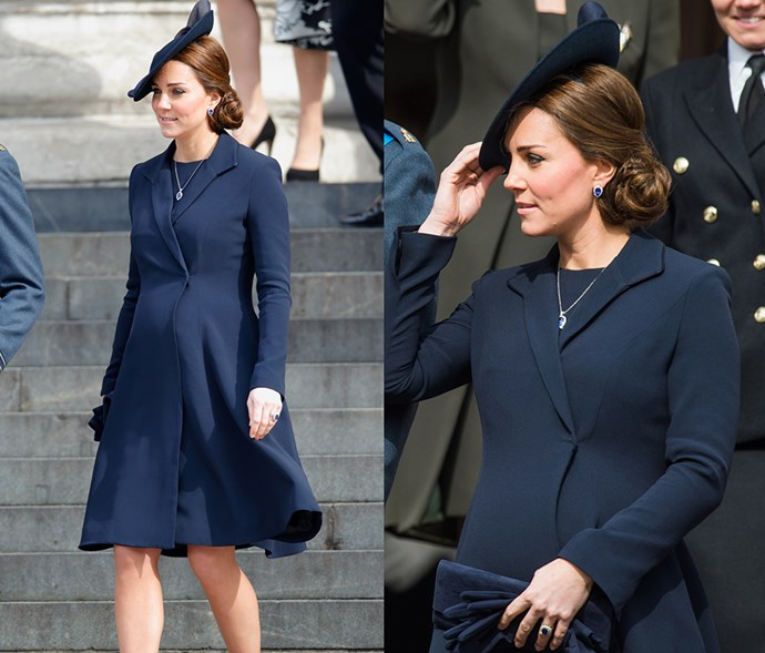 <em>Navy</em> <p> If you look closely, you'll notice that every single item of clothing in this outfit is the same shade of deep navy—even her engagement ring.