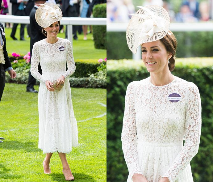 <em>White</em> <p> Like all-black, Kate also rarely wears all-white. Her daughter, Princess Charlotte's, christening and this Royal Ascot outing being the only exceptions.
