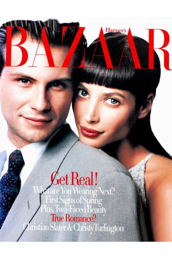 <em>Harper's BAZAAR</em> US, January 1994. With Christian Slater, shot by Patrick Demarchelier.