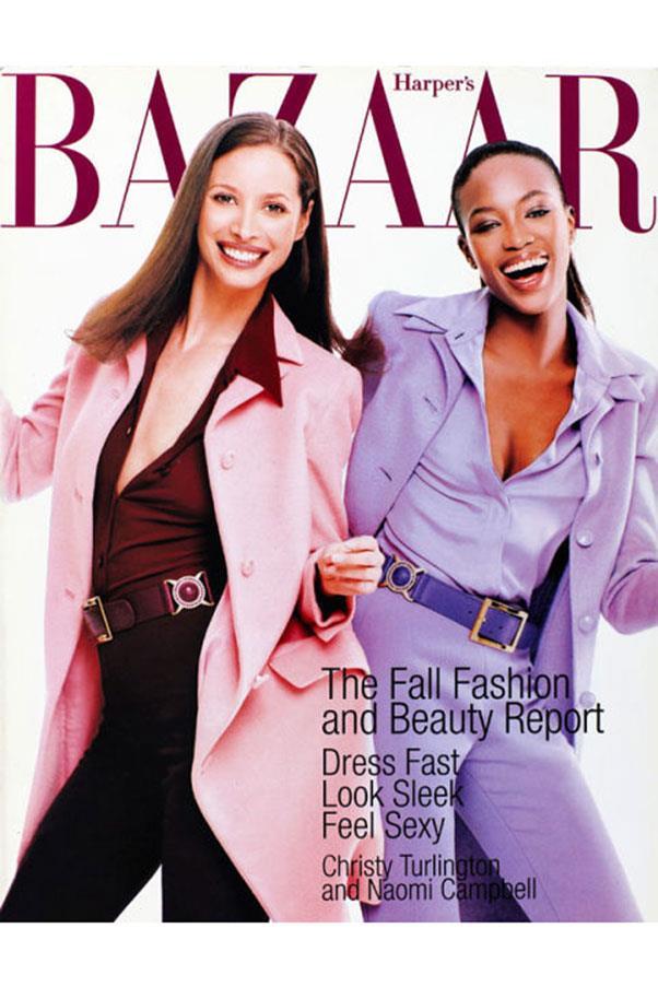 <em>Harper's BAZAAR</em> US, July 1996. With Naomi Campbell, shot by Patrick Demarchelier.
