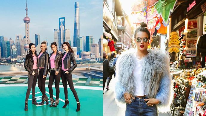 Victoria's Secret models Alessandra Ambrosio, Josephine Skriver, Ming Xi and Sui He were recently in Shanghai to help open China's first Victoria's Secret store. Here are the photos they shared on social media.