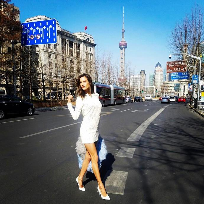 """Alessandra Ambrosio strutted down the streets of Shanghai. <br><br> Image: <a href=""""https://www.instagram.com/p/BRUibBRBs6D/"""">@alessandraambrosio</a>"""