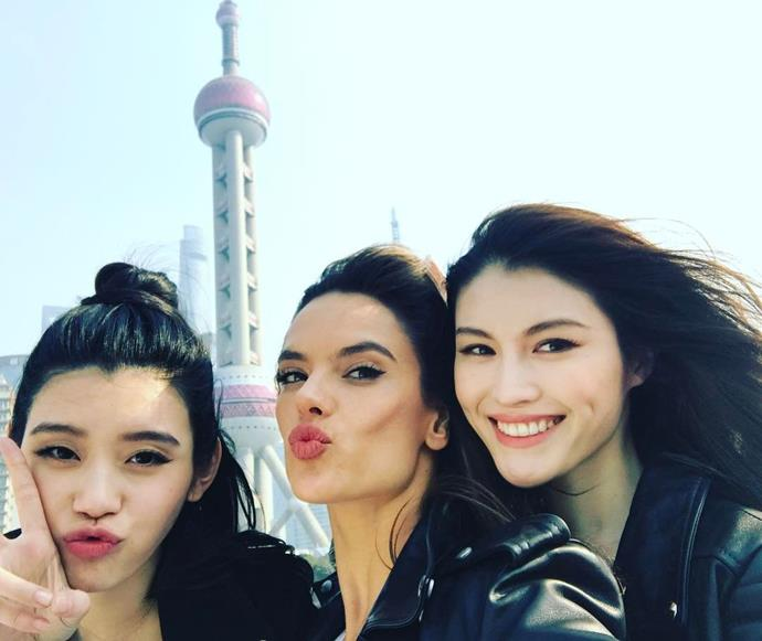 """Ming Xi, Alessandra Ambrosio and Sui He in Shanghai. <br><br> Image: <a href=""""https://www.instagram.com/p/BRYJoM0BRcT/"""">@alessandraambrosio</a>"""