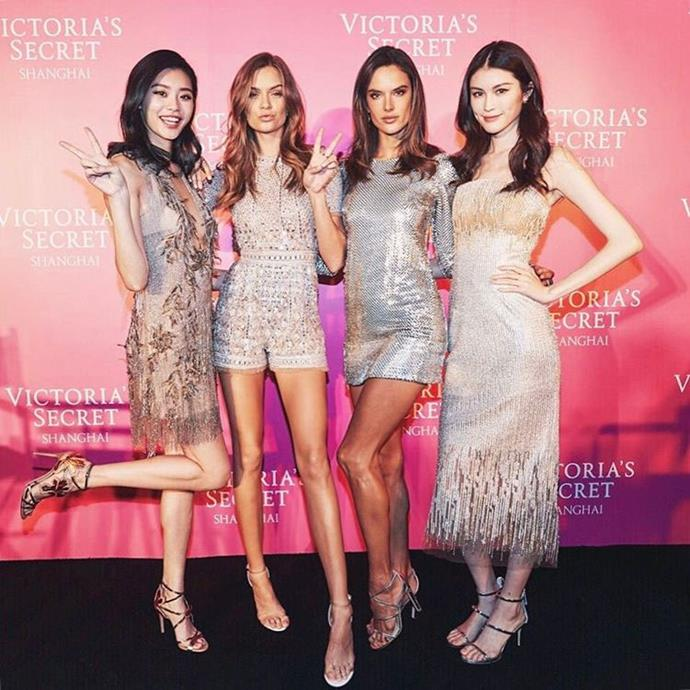 """The girls posed against the pink media wall. <br><br> Image: <a href=""""https://www.instagram.com/p/BRXnV1Gjr_q/"""">@josephineskriver</a>"""